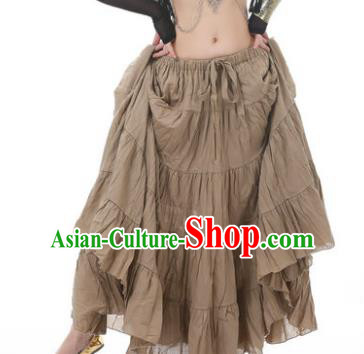 Indian Oriental Belly Dance Costume Brown Bust Skirt, India Raks Sharki Bollywood Dance Clothing for Women