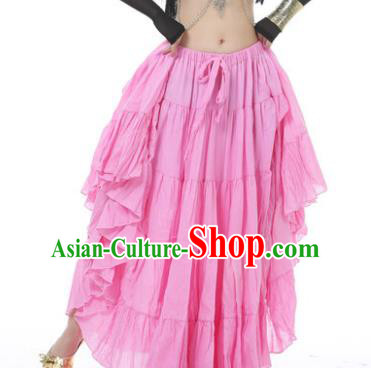 Indian Oriental Belly Dance Costume Pink Bust Skirt, India Raks Sharki Bollywood Dance Clothing for Women