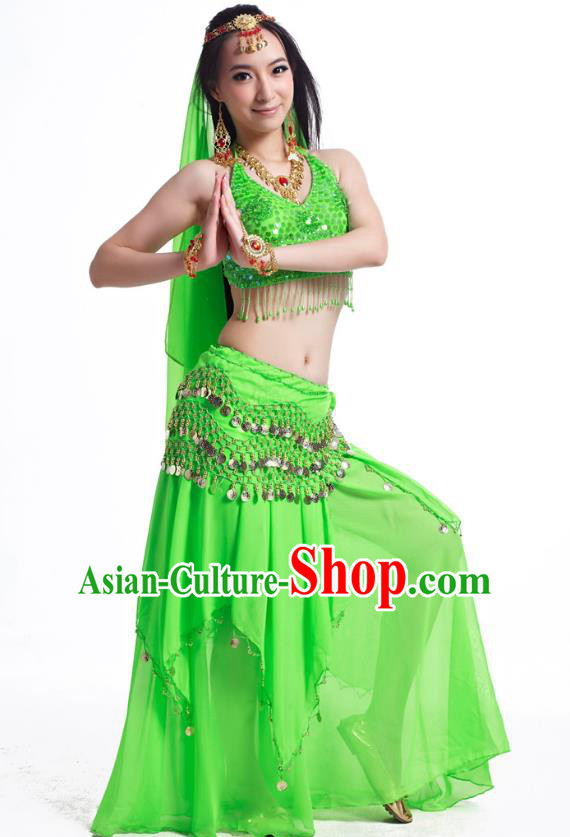 Indian Belly Dance Costume Oriental Dance Green Dress, India Raks Sharki Bollywood Dance Clothing for Women