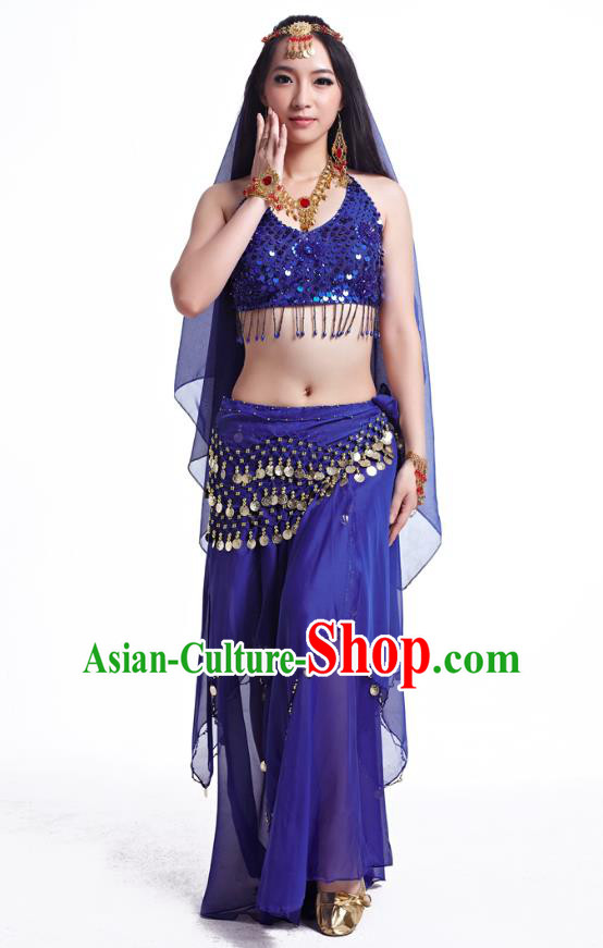 Indian Belly Dance Costume Oriental Dance Royalblue Dress, India Raks Sharki Bollywood Dance Clothing for Women