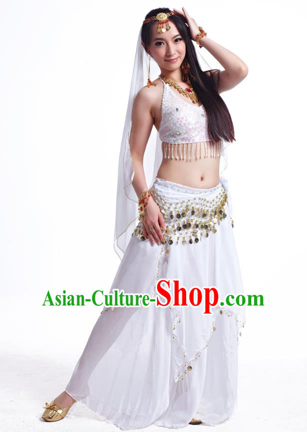 Indian Belly Dance Costume Oriental Dance White Dress, India Raks Sharki Bollywood Dance Clothing for Women