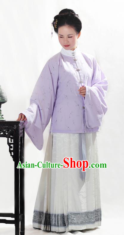 China Ancient Ming Dynasty Dowager Hanfu Costume Blouse and Horse-face Skirt for Women
