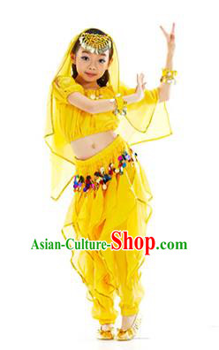Top Indian Belly Dance Yellow Costume Oriental Dance Stage Performance Clothing for Kids