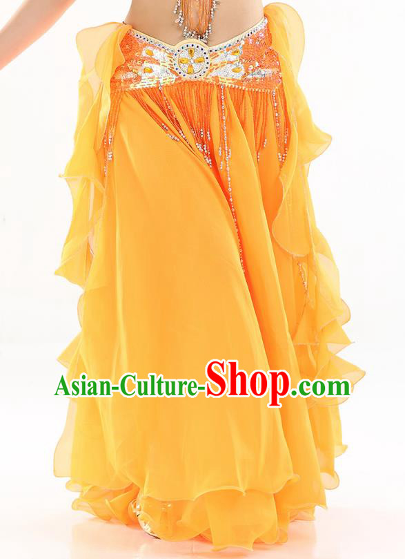 Top Indian Belly Dance Costume High Split Orange Skirt Oriental Dance Stage Performance Clothing for Women