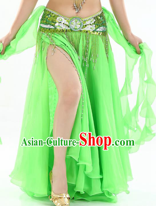 Top Indian Belly Dance Costume High Split Light Green Skirt Oriental Dance Stage Performance Clothing for Women