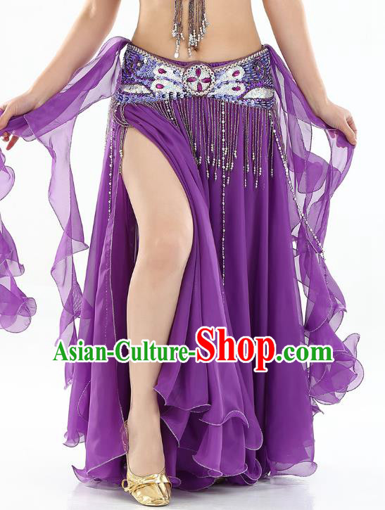 Top Indian Belly Dance Costume High Split Purple Skirt Oriental Dance Stage Performance Clothing for Women