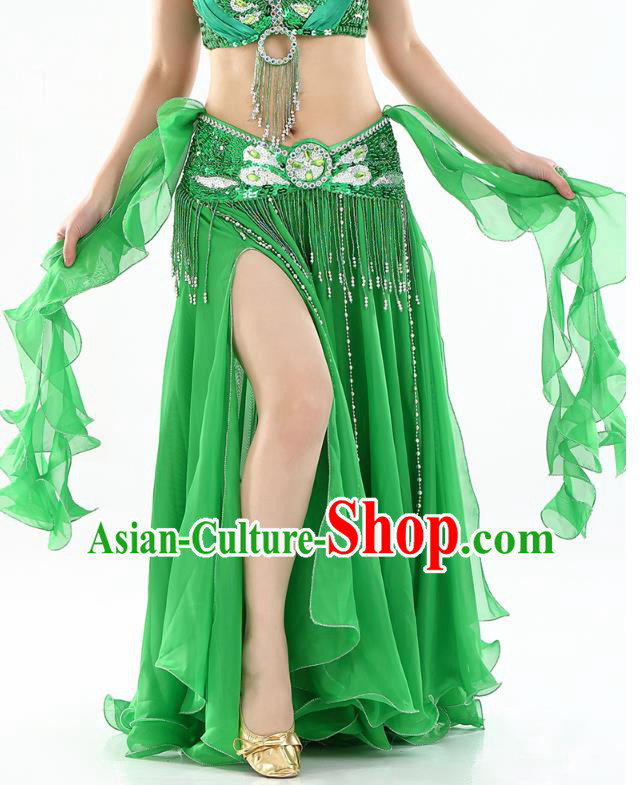 Top Indian Belly Dance Costume High Split Green Skirt Oriental Dance Stage Performance Clothing for Women