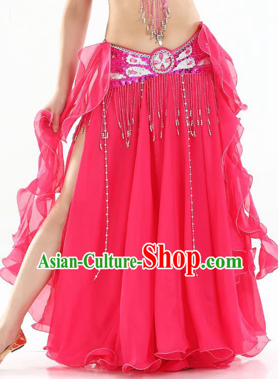 Top Indian Belly Dance Costume High Split Rosy Skirt Oriental Dance Stage Performance Clothing for Women