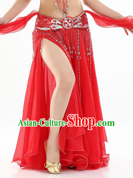 Top Indian Belly Dance Costume High Split Red Skirt Oriental Dance Stage Performance Clothing for Women