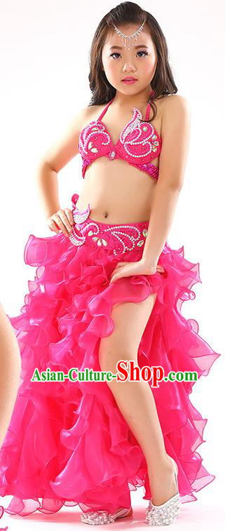 Top Indian Belly Dance Costume Bollywood Oriental Dance Stage Performance Rosy Dress for Kids