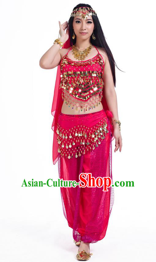 Indian Belly Dance Costume Bollywood Oriental Dance Rosy Clothing for Women