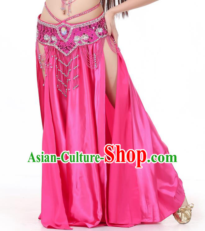 Indian Belly Dance Costume Bollywood Oriental Dance Rosy Satin Skirt for Women