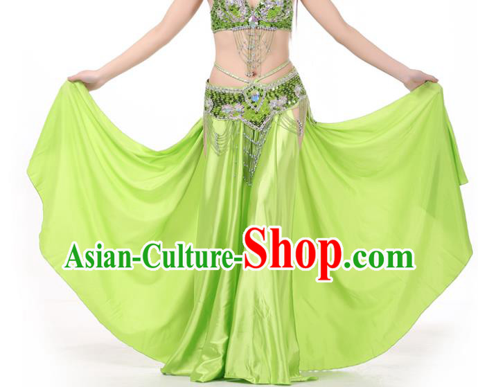 Indian Belly Dance Costume Bollywood Oriental Dance Light Green Satin Skirt for Women