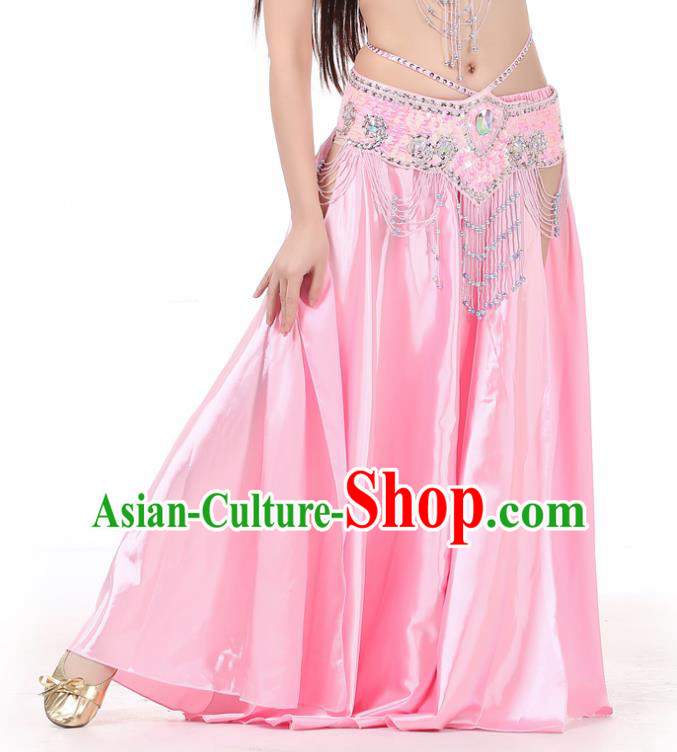 Indian Belly Dance Costume Bollywood Oriental Dance Pink Satin Skirt for Women
