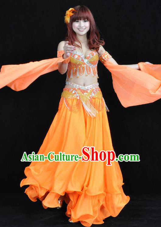 Indian Belly Dance Orange Dress Bollywood Oriental Dance Clothing for Women