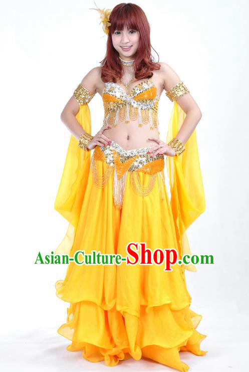 Indian Belly Dance Yellow Dress Bollywood Oriental Dance Clothing for Women