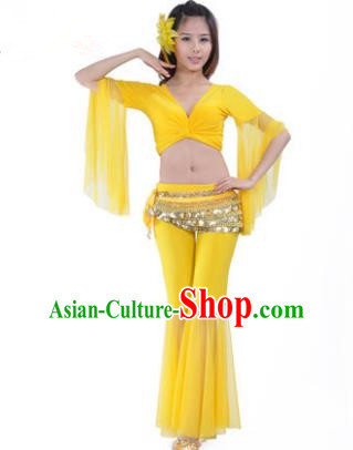 Asian Indian Belly Dance Training Yellow Uniform India Bollywood Oriental Dance Clothing for Women