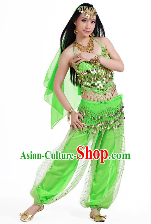 Indian Belly Dance Costume Bollywood Oriental Dance Light Green Clothing for Women