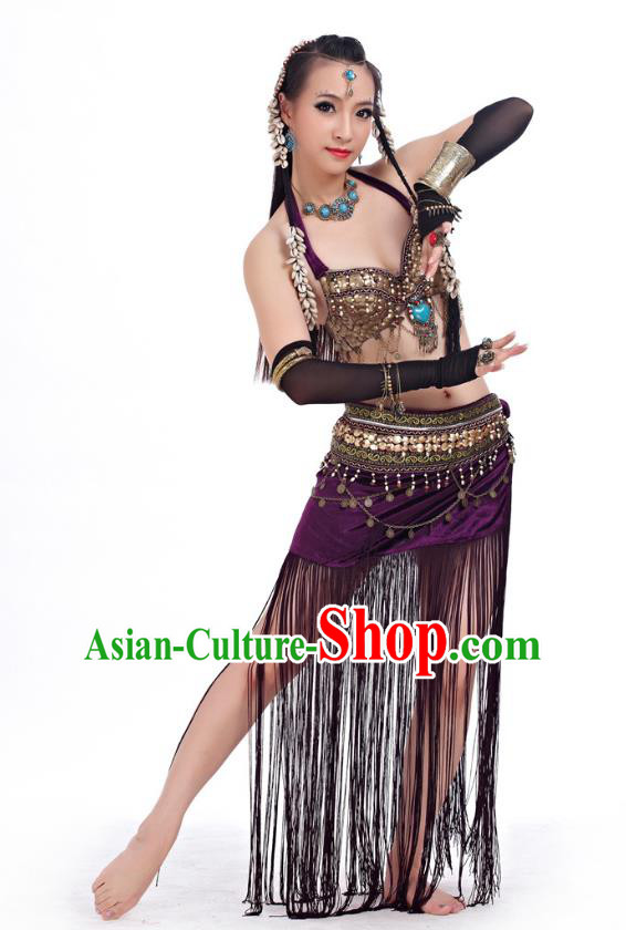 Asian Indian Belly Dance Primitive Tribe Dance Purple Costume India Bollywood Oriental Dance Clothing for Women