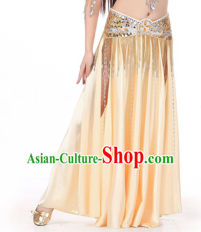 Indian Belly Dance Costume Bollywood Oriental Dance Champagne Satin Skirt for Women