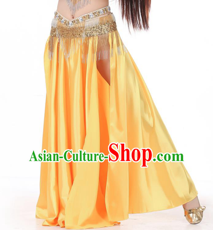Indian Belly Dance Costume Bollywood Oriental Dance Yellow Satin Skirt for Women