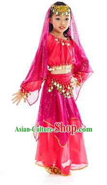 Indian Traditional Belly Dance Rosy Dress Asian India Oriental Dance Costume for Kids