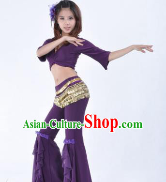 Indian Traditional Belly Dance Purple Uniform Asian India Oriental Dance Costume for Women