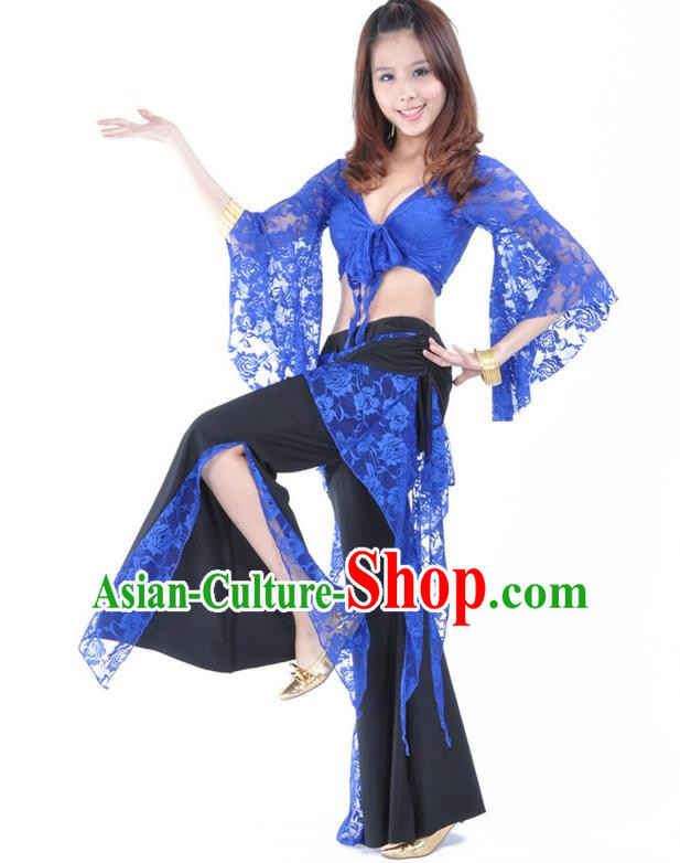 Indian Traditional Belly Dance Blue Lace Clothing Asian India Oriental Dance Costume for Women