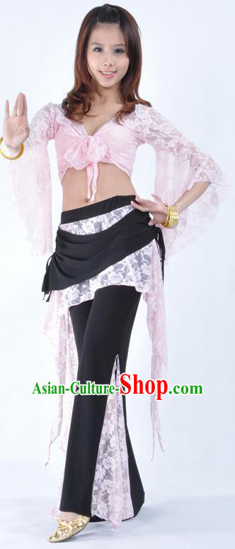 Indian Traditional Belly Dance Pink Lace Clothing Asian India Oriental Dance Costume for Women