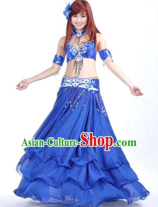 Indian Bollywood Belly Dance Royalblue Dress Clothing Asian India Oriental Dance Costume for Women