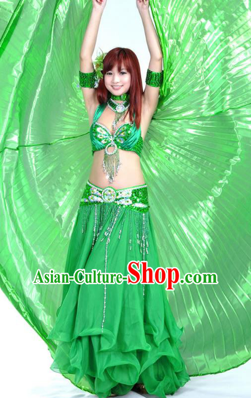 Indian Bollywood Belly Dance Green Dress Clothing Asian India Oriental Dance Costume for Women