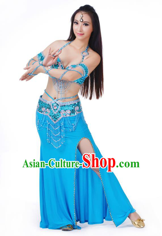 Indian Traditional Belly Dance Blue Dress Asian India Sexy Oriental Dance Costume for Women