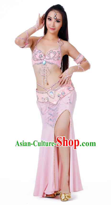 Indian Traditional Belly Dance Pink Dress Asian India Sexy Oriental Dance Costume for Women