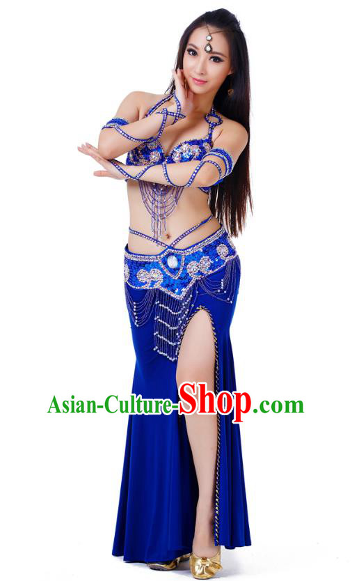 Indian Traditional Belly Dance Royalblue Dress Asian India Sexy Oriental Dance Costume for Women