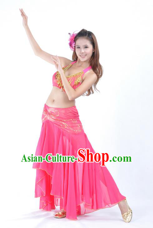 Asian Indian Traditional Belly Dance Costume India Oriental Dance Rosy Dress for Women