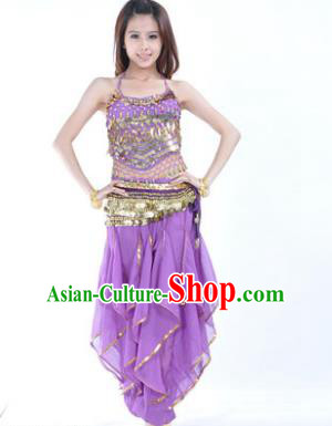 Indian Traditional Belly Dance Costume Asian India Oriental Dance Purple Clothing for Women