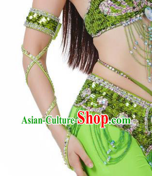 Indian Belly Dance Light Green Sleevelet India Raks Sharki Accessories Wristlet for Women