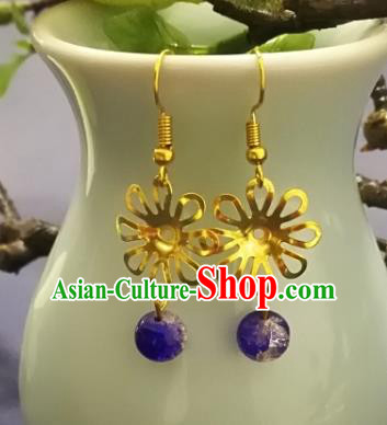 Chinese Handmade Classical Jewelry Accessories Earrings Ancient Palace Lady Purple Bead Tassel Eardrop for Women