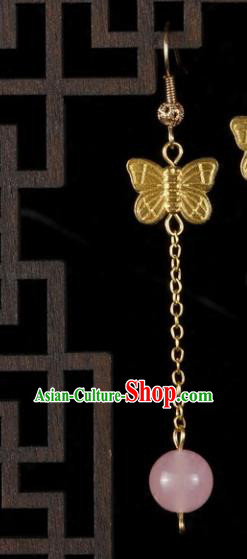 Chinese Handmade Classical Jewelry Accessories Earrings Ancient Palace Lady Pink Eardrop for Women