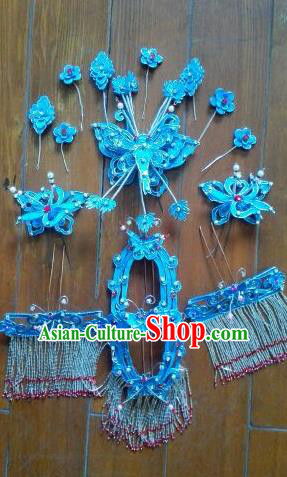 Traditional Handmade Chinese Beijing Opera Hair Accessories Phoenix Coronet Hairpins Complete Set for Women