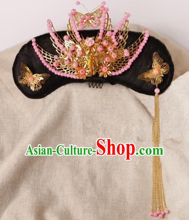 Chinese Handmade Classical Qing Dynasty Palace Princess Hair Accessories Ancient Manchu Lady Headwear Hairpins for Kids