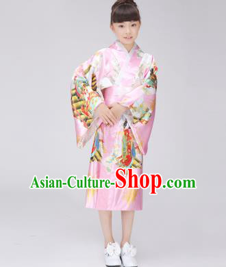 Asian Japanese Traditional Costumes Japan Printing Satin Furisode Kimono Yukata Pink Dress Clothing for Kids