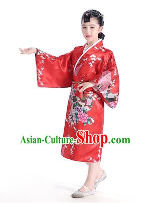 Asian Japanese Traditional Costumes Japan Satin Furisode Kimono Yukata Printing Peony Red Dress Clothing for Kids