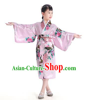 Asian Japanese Traditional Costumes Japan Satin Furisode Kimono Yukata Printing Peony Pink Dress Clothing for Kids