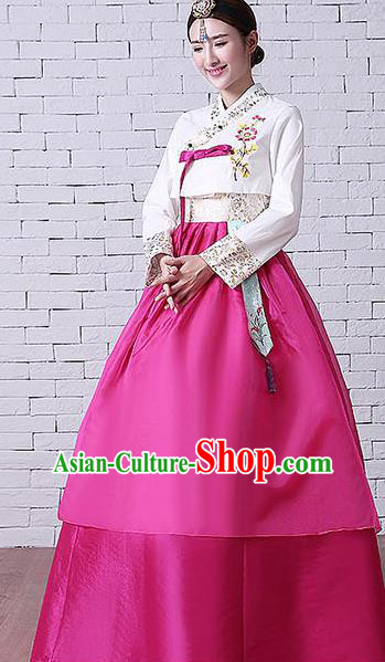 Asian Korean Dance Costumes Traditional Korean Hanbok Clothing Embroidered White Blouse and Rosy Dress for Women