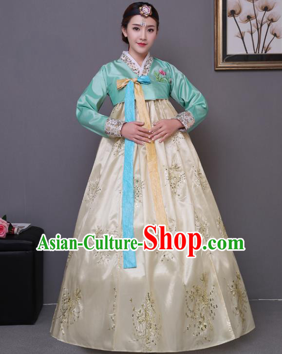 Asian Korean Dance Costumes Traditional Korean Hanbok Clothing Green Blouse and Yellow Paillette Dress for Women