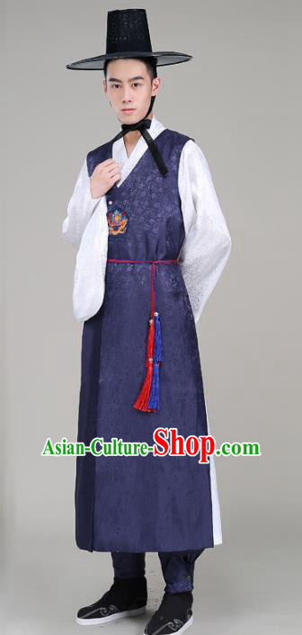 Asian Korean Court Emperor Costumes Navy Robe Traditional Korean Hanbok Clothing for Men