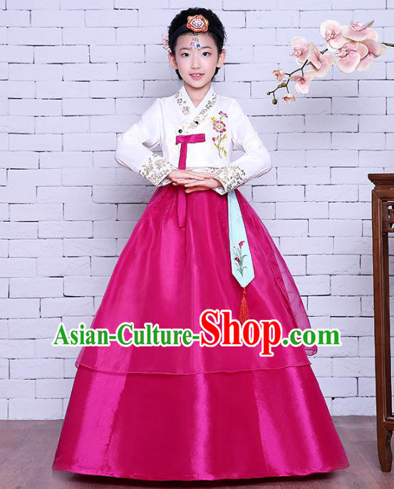 Asian Korean Dance Costumes Traditional Korean Children Hanbok Clothing White Blouse and Rosy Dress for Kids