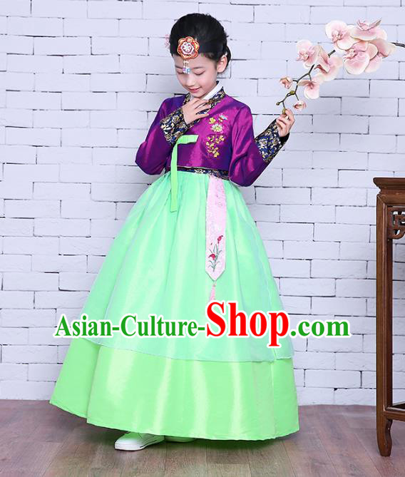 Asian Korean Dance Costumes Traditional Korean Children Hanbok Clothing Purple Blouse and Green Dress for Kids