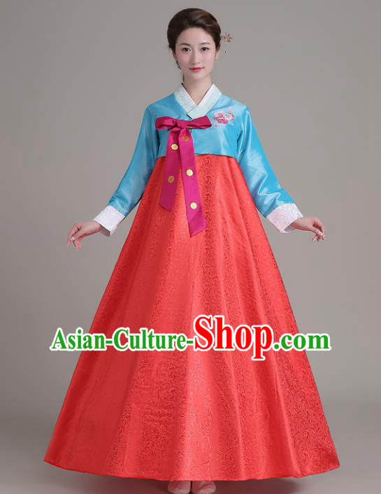 Asian Korean Court Costumes Traditional Korean Hanbok Clothing Blue Blouse and Red Dress for Women